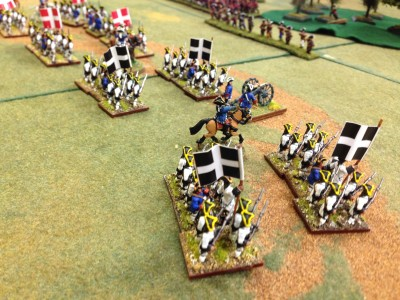 French Center and Left flank advance (Savoyard Light infantry in woods)
