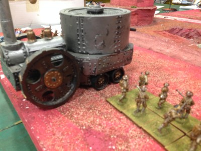 British burning Martian Villages with their might steam tank