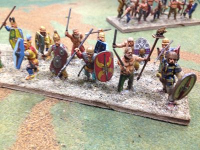We had Celtic Warbands and Spanish Warbands,  light armor, they had Romans.....lots of Romans