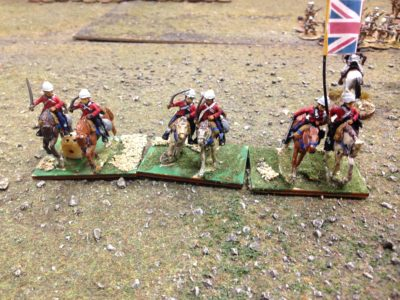The British Hussars begin their charge!  Not seen is the thin Egyptian line of rifleman who pushed back all before them with fire.