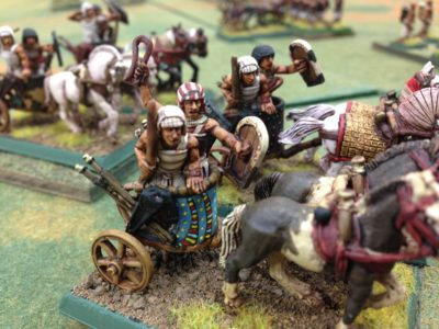 Egyptian charioteers using their bows and Not getting close to any Assyrians