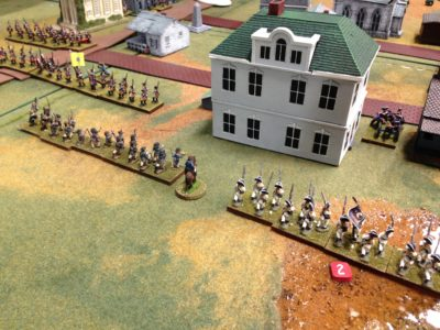 Fire fight at Trenton...the Hessians got into line just in time to put up a fight.